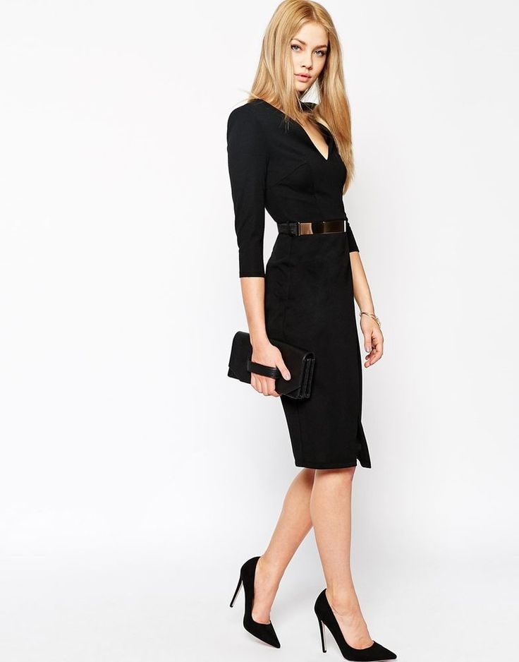 NEW ASOS BLACK V NECK PENCIL WIGGLE DRESS WITH METAL BELT PARTY 6 to 18 RRP £35