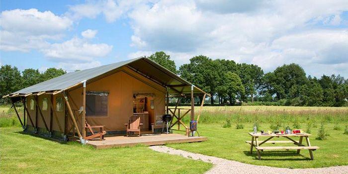 Bij FarmCamps Den Branderhorst ga je luxe kamperen bij de boer in deze lodgetent voor grote gezinnen met 6 personen, met eigen badkamer. Volop genieten!