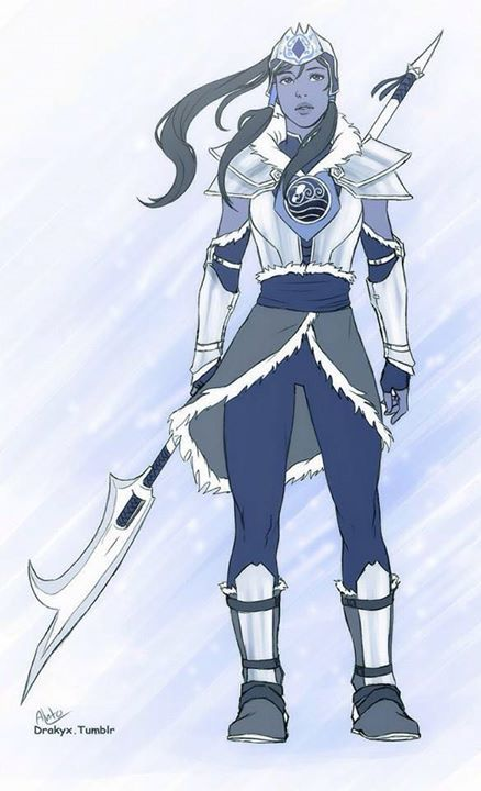 """Korra, chieftess of the southern water tribe."" Looks awesome. Reminds me of Aang in his oversized armor from book 3 episode 4."