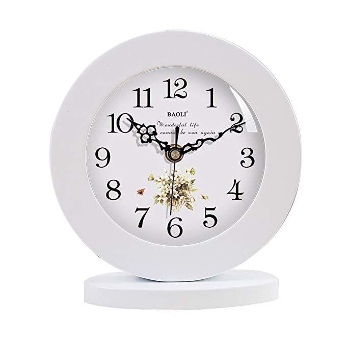 Haofay Clock Retro Vintage Mantel European Modern White Frame Silent Quartz Clock Desk And Shelf Clock Review Mantel Clocks Clock Shelf Clock #standing #clocks #for #living #room