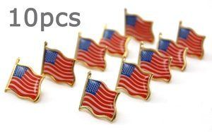 """Bluecell 10 PCS Gold plated American Flag Lapel Pin by BLUECELL. $8.99. All patterns are hand-made, Looks very stereoscopic. And the Lapel Pin take use of butterfly hat pin, it's very safety.. Package:10 PCS per package,ecah with a PE bag, can prevent wear and scratch.. Material:Stainless steel and Bronzing and Surface mirror-polished.. Dimension:0.75""""*0.5""""*0.8"""".. The American Flag Lapel pin all patterns are hand- made,bronzing and surface mirror-polished, it make them looks ver..."""