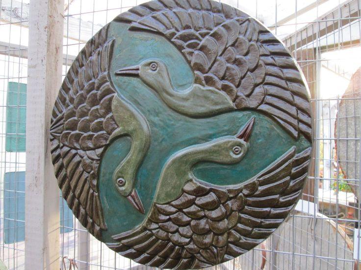 Crane Garden Plaque From Local Artist Geoff Dickerson.