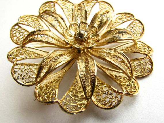 Vintage Gold Overlay Sterling Filigree Flower Brooch Pin Made in Portugal