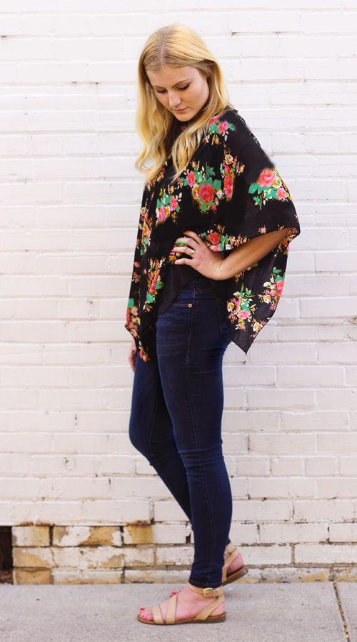 Dark Floral Multi Purpose Nursing Poncho — Cover Me Ponchos   Nursing Ponchos and Nursing Covers