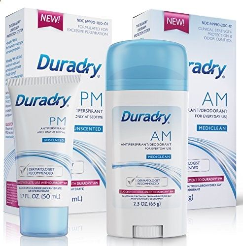 Duradry Underarm Protection System - Prescription strength antiperspirant deodorant. Specially formulated for excessive sweating or hyperhidrosis. Men  Women. FDA-Compliant formula. Made in USA TWO-PRODUCT SYSTEM: Duradry is the only two-product system specially formulated to control your excessive sweating or hyperhidrosis. Duradry AM and Duradry PM complement each other and work together to treat even the worst cases of excessive perspiration. PRESCRIPTION-STRENGTH  DERMATOLOGIST...