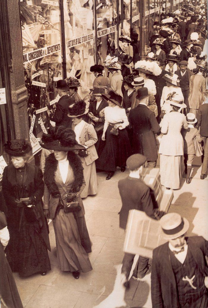 1908, The London Sales Every single person is wearing a hat, even the kids!