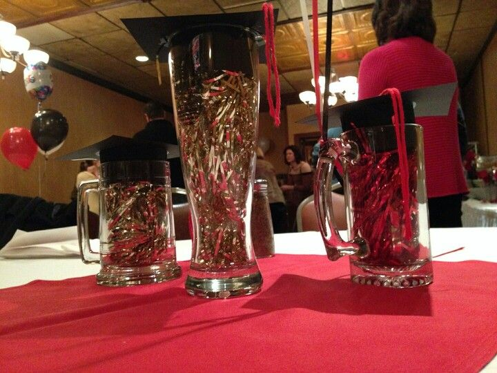 Graduation Party Centerpieces Beer Mugs Gles With Tinsel And Construction Paper Hats