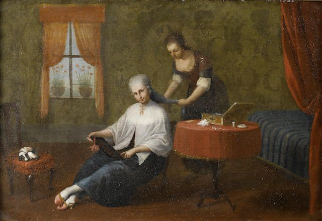 The Master of the Reflessi (Italian), 18th Century An interior with a lady at her toilet 46.5 x 69.7