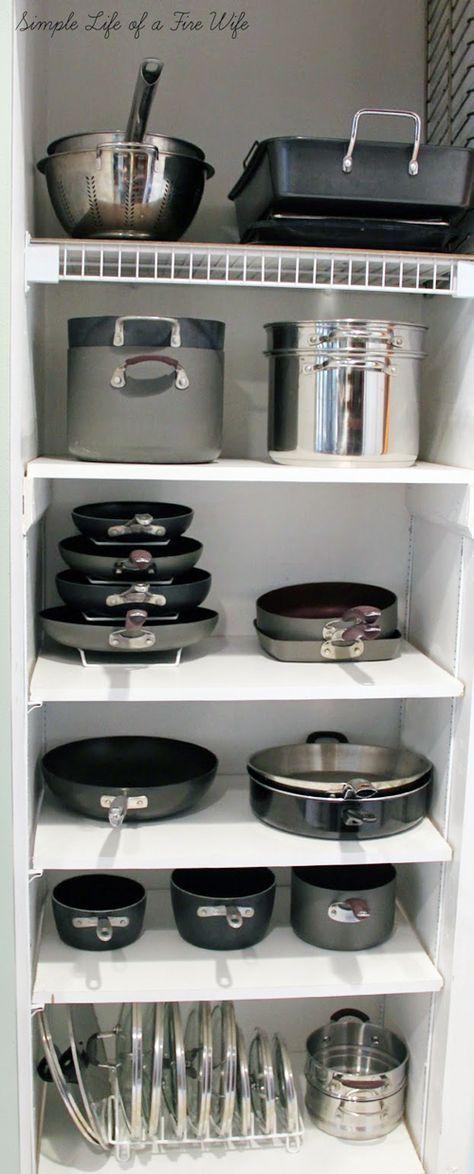 Organización de ollas, sartenes, cacerolas, y otros contenedores en closet! #cocina #organizacion #hogar #limpieza