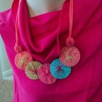 Bamboo shawl in cerise pink with blue pink and yellow disc necklace final