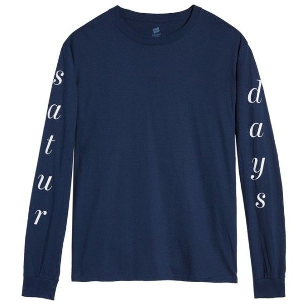 Men's Saturdays Nyc Long Sleeve T-Shirt ($50) ❤ liked on Polyvore featuring men's fashion, men's clothing, men's shirts, men's t-shirts, navy, hanes men's t shirts, mens navy blue t shirt, old navy mens shirts, mens t shirts and mens navy blue shirt