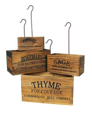 @Kyle Montalbo....found theseKitchens, Ideas, Nests Herbs, Herbs Boxes, Gardens, Herbs Garden, Herbs Crates, Style Nests, Vintage Style