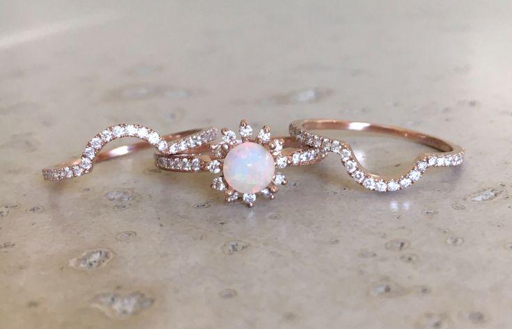 Rose Gold Opal Engagement Ring Set- Genuine Opal Engagement Ring- 14k Floral Engagement Ring- Opal Bridal Set Wedding Ring-Opal Diamond Ring by Belesas on Etsy https://www.etsy.com/uk/listing/491641199/rose-gold-opal-engagement-ring-set