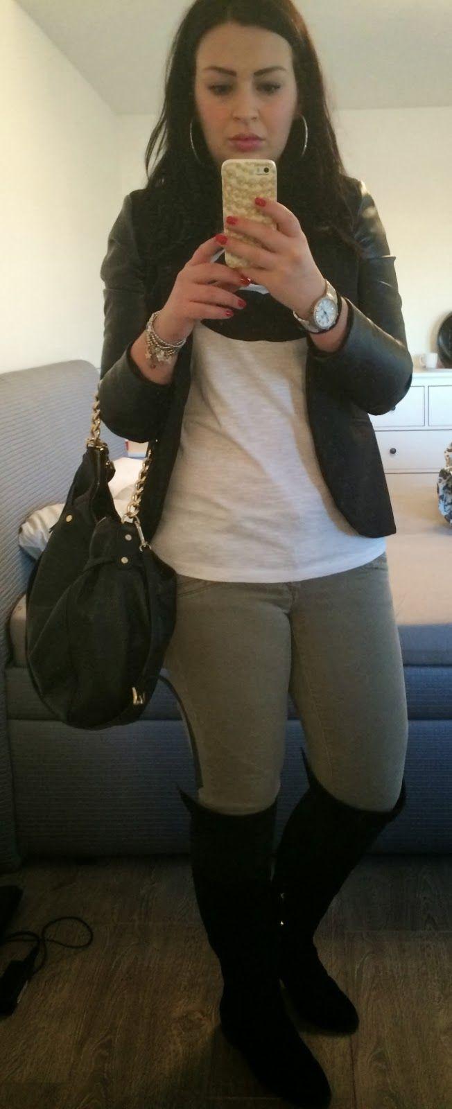 #6 t-shirt Reserved khaki trousers H&M jacket with PU sleeve Primark handbag Michael Kors boots Stradivarius earrings Primark watches Michael Kors sunglasses Lee Cooper multicolor bracelets (present from my mum)