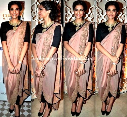 sonam kapoor | love her longer sleeved blouse, collar detail, and uniquely draped sari w/ leggings underneath.