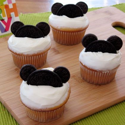 Mickey Mouse Cupcakes super easy! I am also going to add bright colored sprinkles to make it look like Mickey Mouse Clubhouse