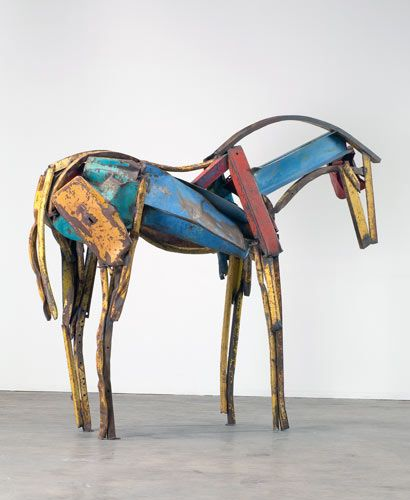 Deborah Butterfield's life-size horse sculptures are stunning. She uses wood and steel to create unique and stunning sculptures.