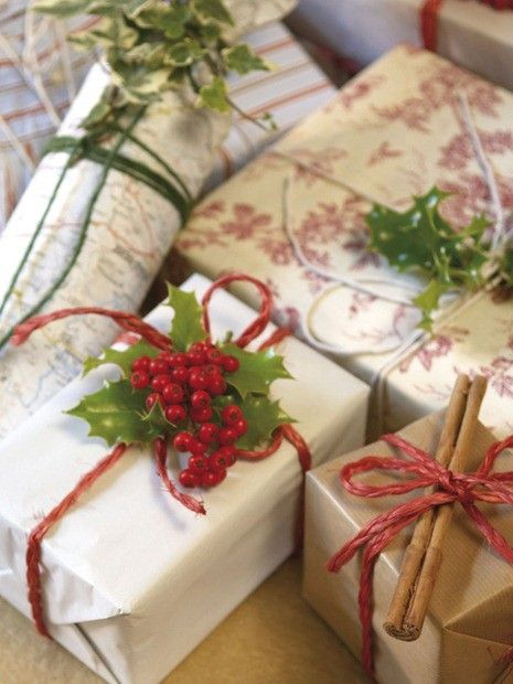"Love the idea of ""use what's around"" gift wrap, add some twine and a bit of greenery or natural botanicals!  GREAT!"