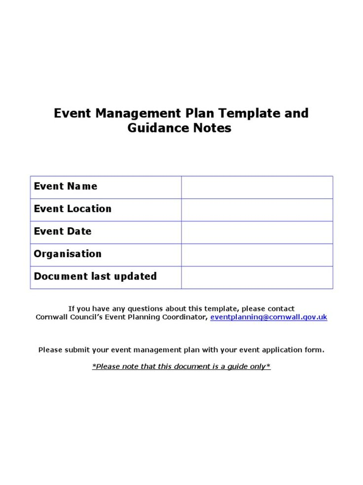 Event Management Plan Template and Guidance Notes Event - management plan template