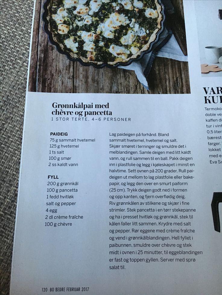 Grønnkålpai med chevre og pancetta