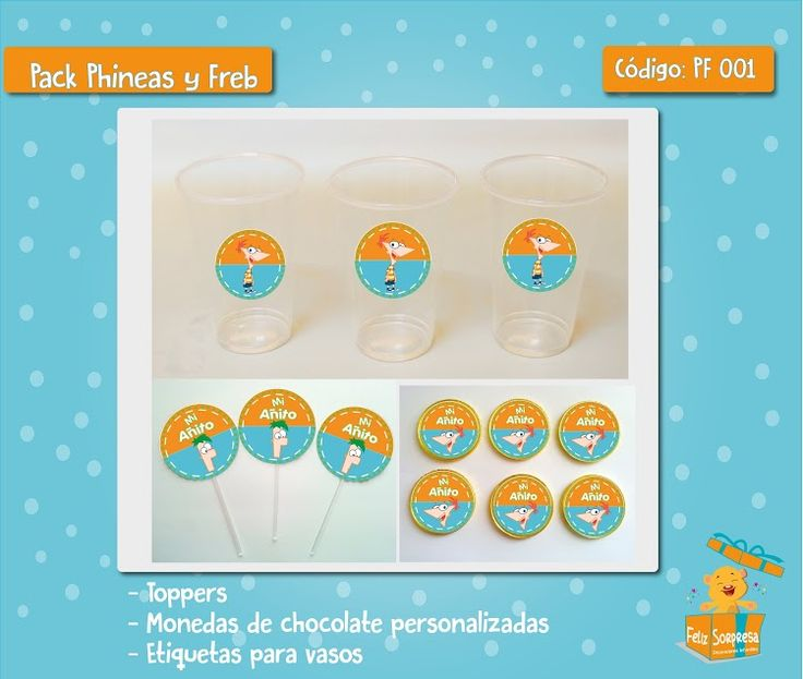 Mini pack - Phineas y Ferd Vasos acrílicos - toppers - monedas de chocolate.