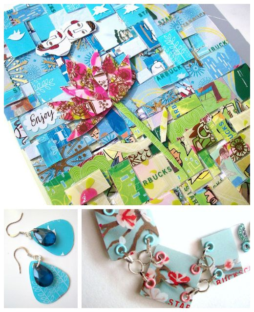 Credit/gift card repurposing - jewelry and mosaics #upcycle #plasticcards #giftcards