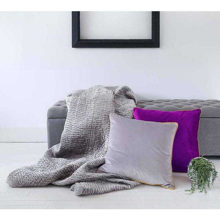 Essence Velvet Cushion | Dove Grey & Yellow Cushion