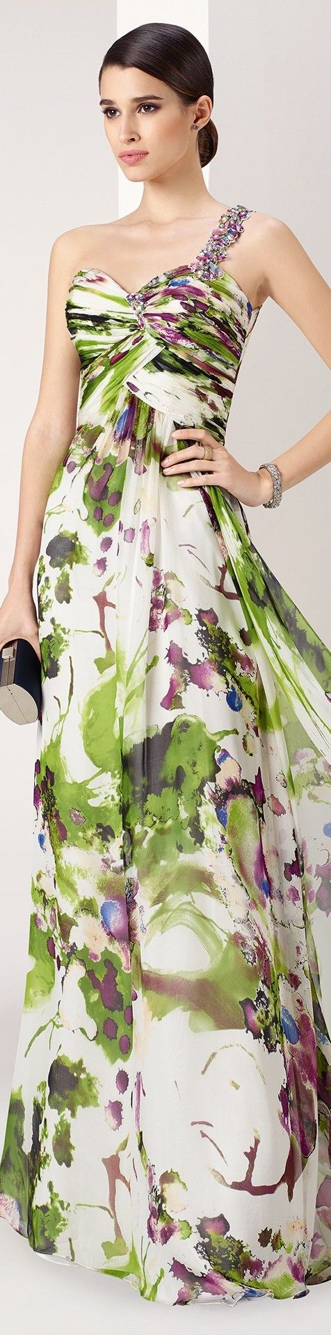 Marfil by Rosa Clara ~ One Shoulder Multi Floral Maxi Dress 2015