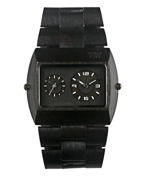 """https://www.cityblis.com/9851/item/14335  WeWOOD Jupiter Black Watch - $139 by WeWOOD  • 100% Natural Wood  • Hypo-allergenic  • Completely free of toxic chemicals  • FEATURES TWO Miyota movements • Adjustable to fit most any wrist • Dimensions: Band: 8 1/4"""" (220 mm) FACE (including wood frame / bezel): 1 5/8"""" (41 mm) X 2"""" (51 mm) across, and 1/2"""" (12.75 mm) thick"""