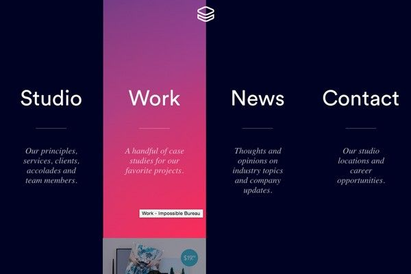 Impossible Bureau | full screen navigation | big | modern | gradient | modern