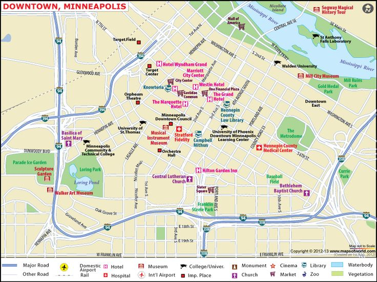 Map Displaying Hotels Airports Major Roads In Minneapolisdowntown In Usa