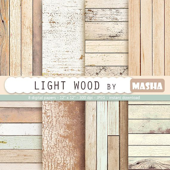 Light wood digital paper:  WOOD DIGITAL PAPER by MashaStudio