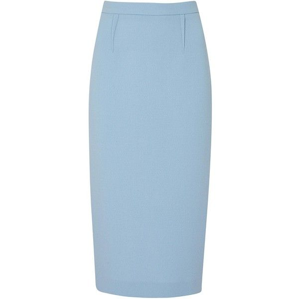 Womens Pencil Skirts Roland Mouret Arreton Blue Wool Crepe Pencil... (£450) ❤ liked on Polyvore featuring skirts, light blue pencil skirt, knee length pencil skirt, light blue skirt, pencil skirts and wool skirt