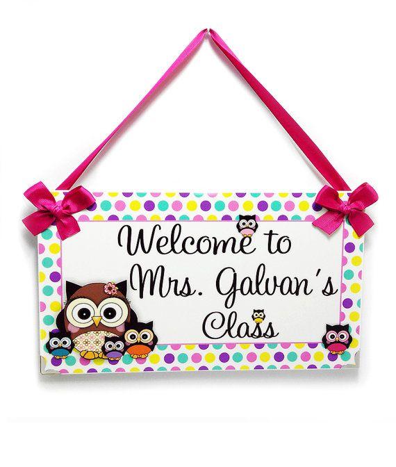 personalized welcome to class teacher door sign - owls themed classroom decor - welcome teacher class plaque gift - P343