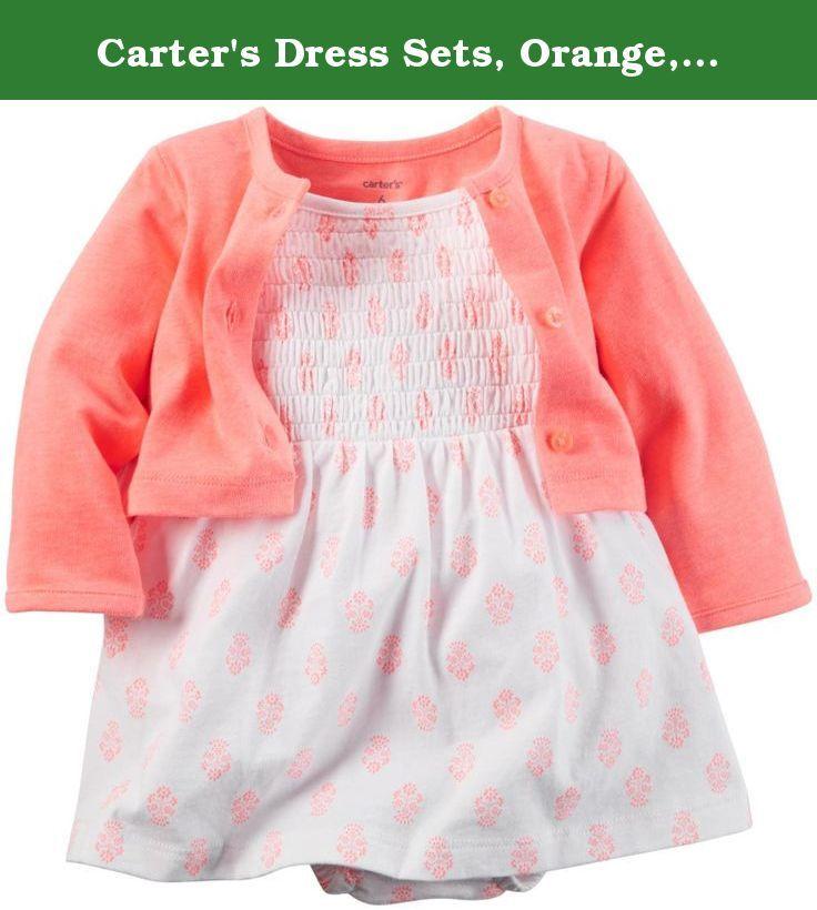 Carter's Dress Sets, Orange, 6 Months. s16 girl 2pc bs dress set orange cardi white geo.