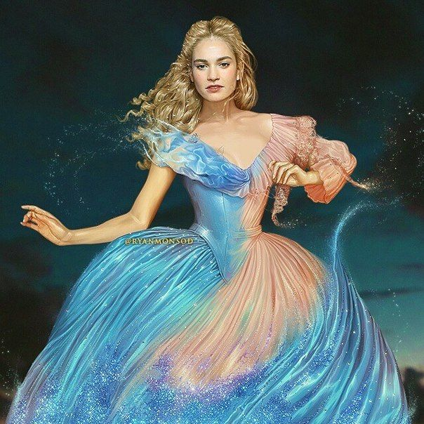 Cinderella (Lily James) art ... YIKES!!! Ahhhh, best. Thing. Ever.