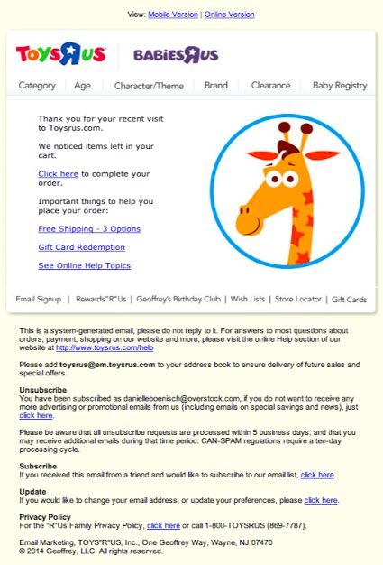 Toys R Us Abandoned Cart Email Email Newsletter Examples Email