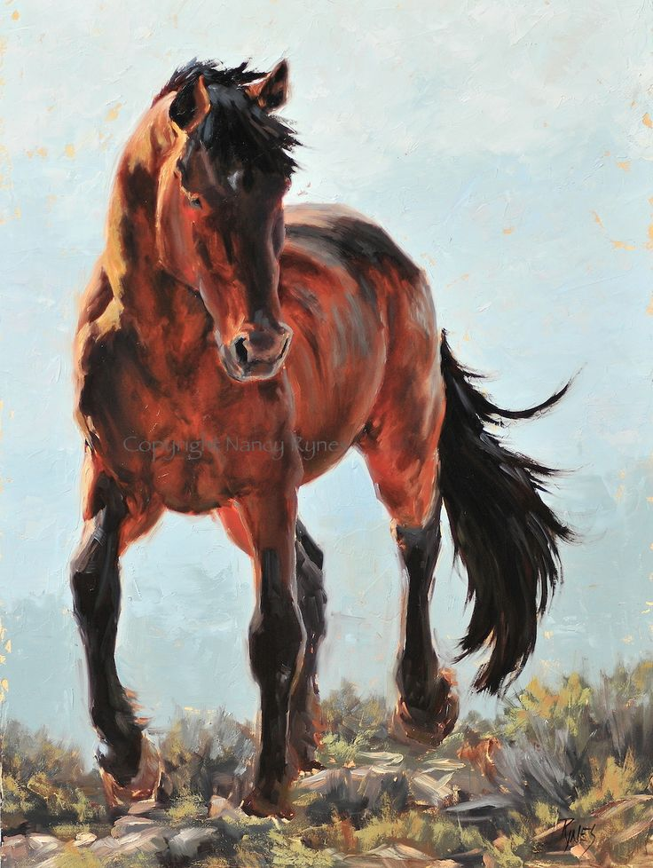 """""""High Step"""" Oil on board, 24""""x18""""; Available; wild mustang ..."""
