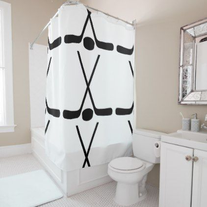 HIPSTER KIDS SHOWER CURTAIN HOCKEY STICK PATTERN - home gifts ideas decor special unique custom individual customized individualized