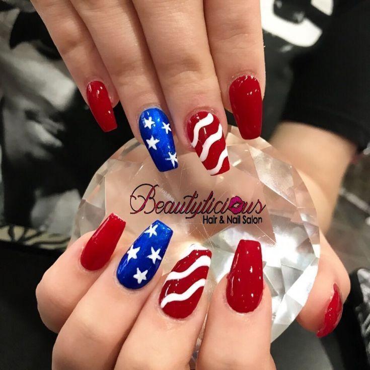40 Cute American Flag Nail Art 2018 In 2020 Usa Nails American Nails American Flag Nails