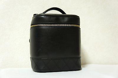VINTAGE CHANEL Black Lambskin Leather Vanity Tote Bag Cosmetic Make Up Bag #chanel #fashion #desinger #boutique
