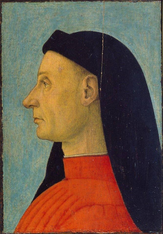 Ritratto di gentiluomo, attribuito al Carpaccio, 1495 #mazzocchio caratteristico #copricapo maschile utilizzato soprattutto a Firenze e in Toscana, Accademia Carrara