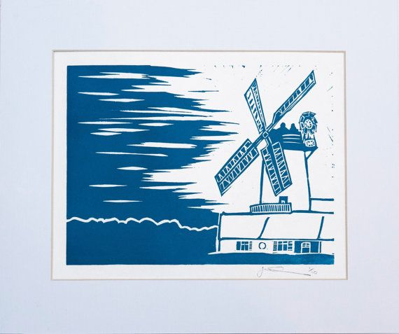 Windmill  Lino Print by LinoPrintDesign on Etsy