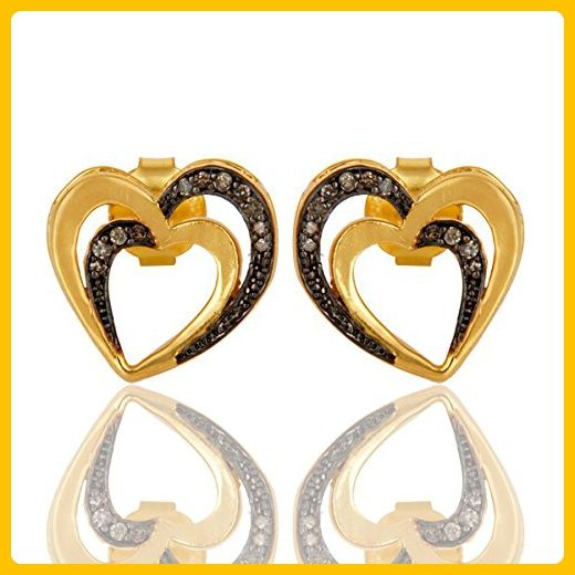 Gold Plated Heart Diamond Stud Earrings In Sterling Silver Wedding Jewelry - Wedding earings (*Amazon Partner-Link)