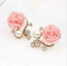 2014 Nova moda de ouro 18K doce bonito Rose Shaped Pérola Artificial e brincos de diamantes para as Mulheres Meninas Pink Ladies(China (Mainland))