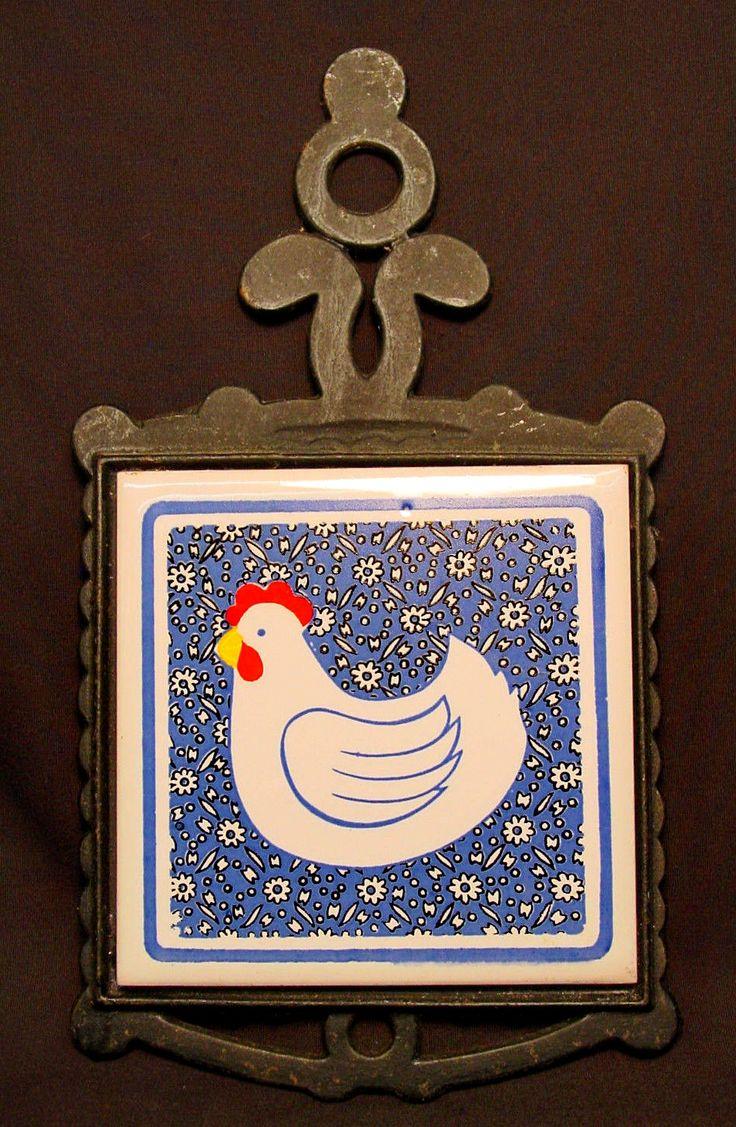 107 best trivets images on pinterest kitchen ideas old vtg cast iron metal trivet spoon rest chicken hen bird ceramic tile national ebay dailygadgetfo Images