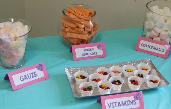 Set of 4-Personalized Doc McStuffins Birthday Party Decoration, Doc McStuffins Food Cards, Doc McStuffins Tent Cards