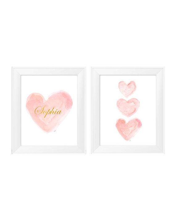 Blush and Gold Wall Decor Set of 2 11x14 by OutsideInArtStudio