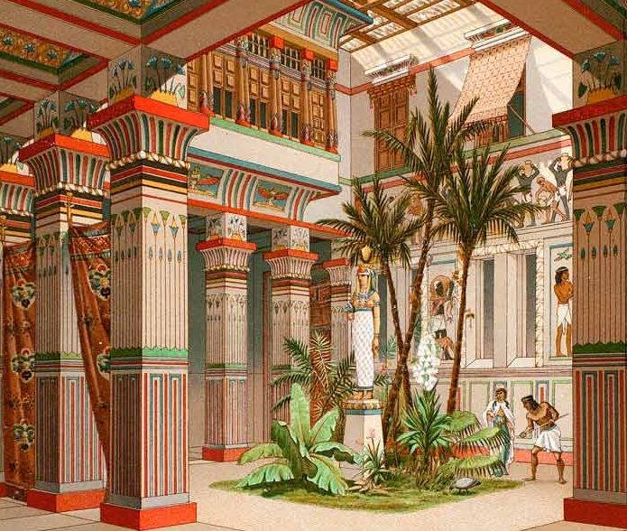 Ancient Egyptian Architecture- 19th Dynasty Courtyard (1888 Chromolithograph)