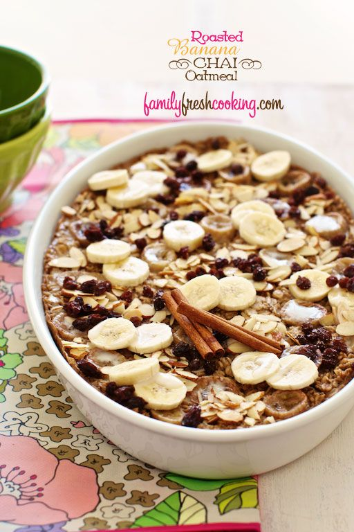 Roasted Banana Chai Oatmeal. #Vegan & #GlutenFreeGluten Recipe, Baked Oatmeal, Roasted Bananas, Baking Oatmeal, Comforters Breakfast, Coconut Oil, Oatmeal Recipe, Bananas Chai, Chai Baking